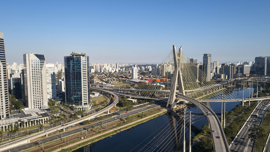 High angle view of elevated road against sky