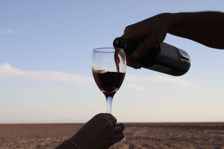 Midsection of person pouring wine in glass against sky