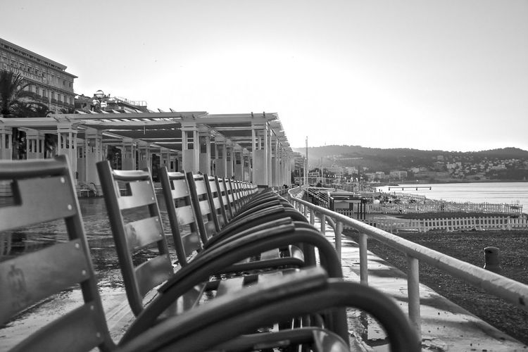 Nice, France Urbanphotography Sea And Sky Alone Time Alone In The City  Promenade Des Anglais Sunrise Chairs Black And White Photography Mountain