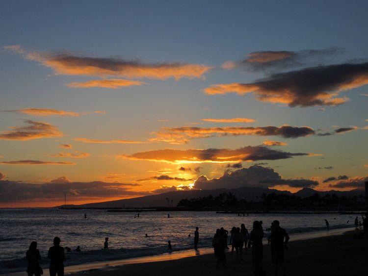 Hawaii Waikiki Sunset Alamoanabeach Beach Nofilter