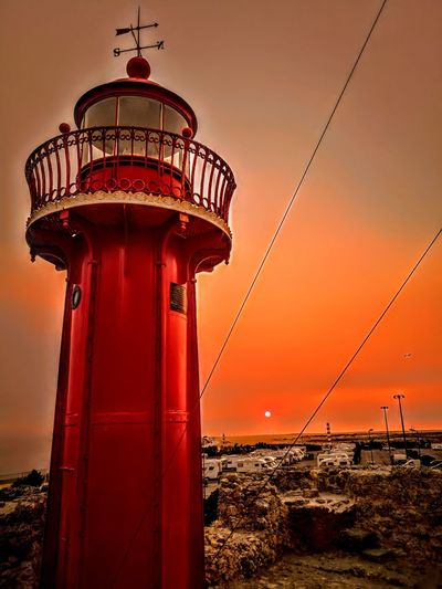 Lighthouse Sunset Red Sky Figueira Da Foz, Portugal P9 Huawei 2017 EyeEmNewHere Postcode Postcards Rethink Things Perspectives On Nature