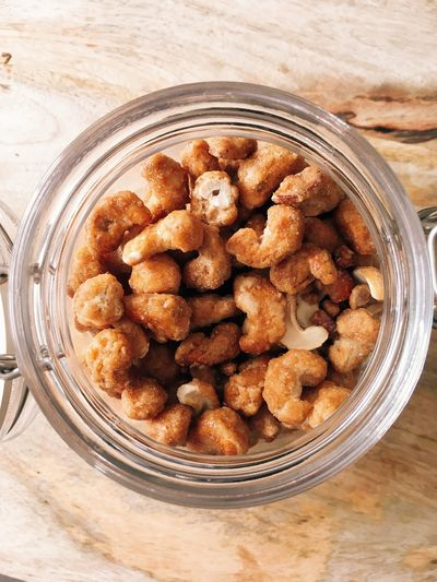 Food Food And Drink Freshness Indoors  Jar Still Life Close-up Healthy Eating Wellbeing Container Table Ready-to-eat Sweet Food Glass - Material No People Directly Above High Angle View Dessert Sweet Indulgence Snack Temptation Honey Cashews Nuts Cashews