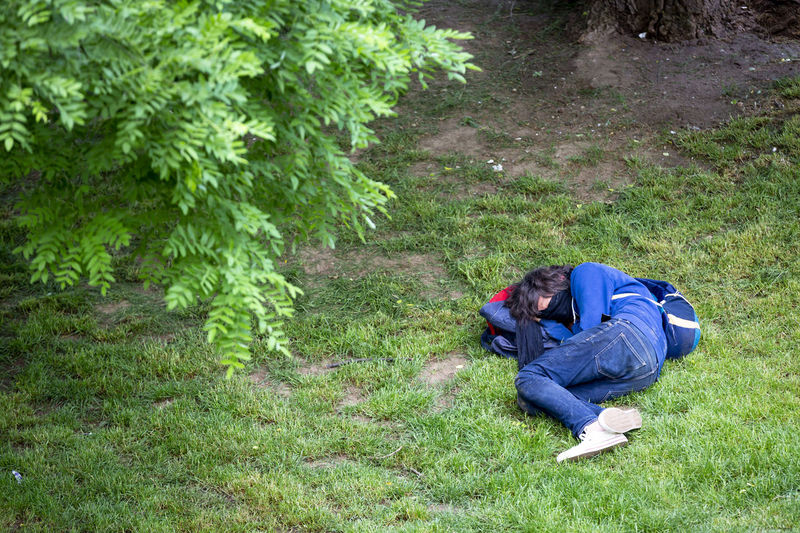 View of people sleeping on grass