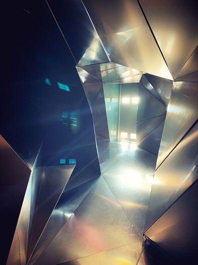 Illuminated Indoors  Architecture Glass - Material Modern Lighting Equipment Low Angle View Built Structure No People Design Light