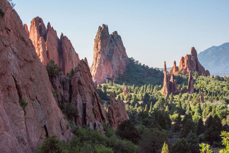 Jul 2018 - Garden of the Gods Park Beauty In Nature Clear Sky Climate Environment Eroded Formation Landscape Mountain Mountain Range Nature No People Non-urban Scene Outdoors Physical Geography Plant Rock Rock - Object Rock Formation Scenics - Nature Sky Solid Tranquil Scene Tranquility Travel Travel Destinations