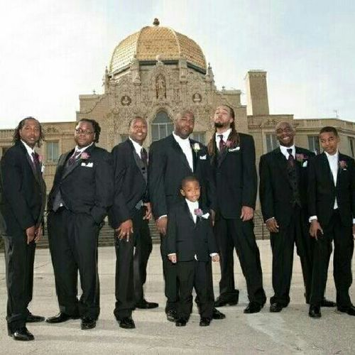 We make this look easy. Wedding Gentlemen Clean Cut Suit And Tie