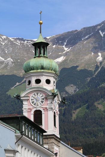 Sankt Josef Church clock tower in Innsbruck Austria Church Innsbruck Travel Architecture Clock Tower Europe Place Of Worship Sights Tour Tourism