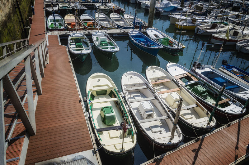 High Angle View Of Boats Moored In Marina