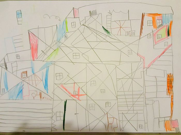 this is a picture from my son, he is 6 No People Paper Architecture Kubismus Kubism Picture Childs Picture Art Is Everywhere
