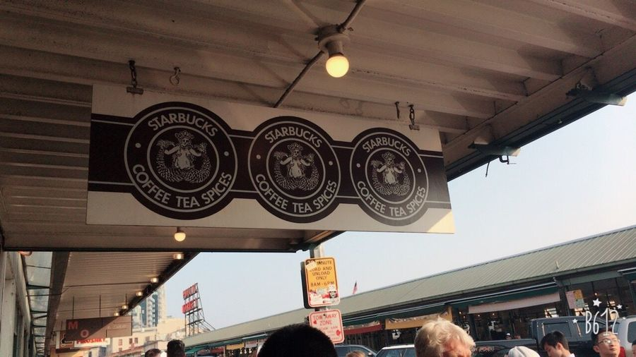 The first Starbuck COFFEE store in Seattle with old logo