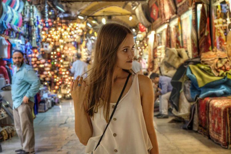 Woman looking at market