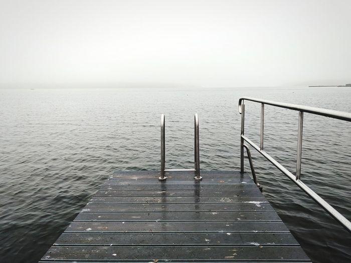 Sea Lanscape Horizon Over Water Horizont  See Wasser Fog Foggy Weather Nebel Steg Dock Lake Scenics Horizon Nature
