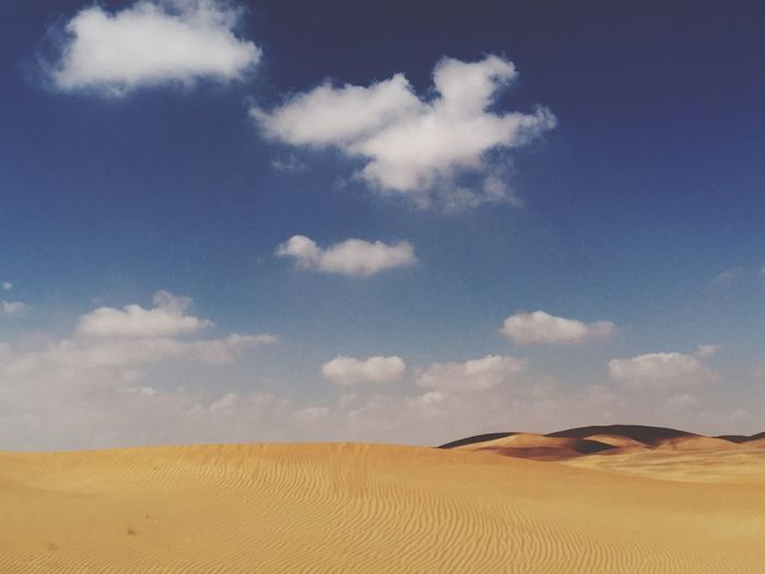 Views😱 Desert Beauty Blue Sky And Clouds Desert Landscape Sky Cloud - Sky Scenics - Nature Land Landscape Sand Desert Sand Dune Arid Climate Beauty In Nature Tranquil Scene No People Day Nature
