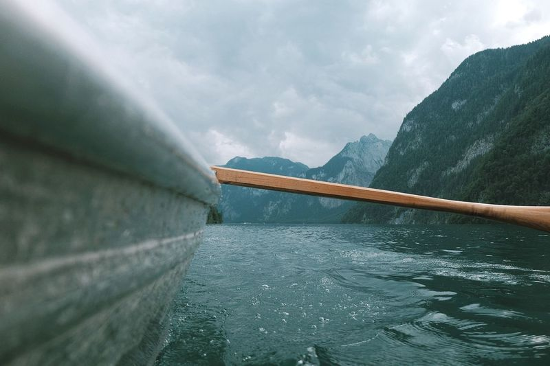 Rowing Mountain Water Outdoors Nature Landscape River Lake Rowing Rowboat Berchtesgaden Alpen Alps Königssee Wanderlust Wallpaper No People Cloud - Sky Sky Day Beauty In Nature Bavaria Germany Bayern Schönau Am Königsee
