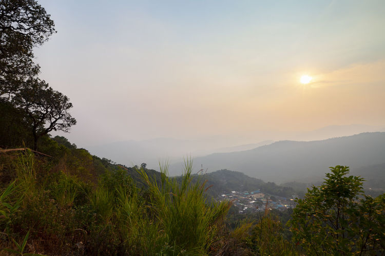 Chiang Mai And Air Pollution (2.5pm) Mountain Sky Beauty In Nature Scenics - Nature Tree Plant Tranquility Tranquil Scene Mountain Range Environment Landscape Non-urban Scene Nature No People Idyllic Outdoors Sunset Land Cloud - Sky Growth Thailand Chiang Mai | Thailand Air Pollution