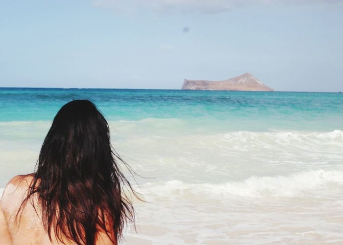 Zen Place 808state Hawaii Life Waimanalo Beach Water Sea Women Beach Sand Rear View Wave Long Hair Sky Horizon Over Water Human Back Back Shoulder Shore Surf Coastline Tranquil Scene Scenics Wet Hair Sandy Beach