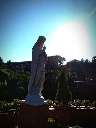 Mãe de Deus e da Igreja Church Mother Of God Religion Tree Sculpture Statue Representing Human Representation Sky Virgin Mary First Eyeem Photo