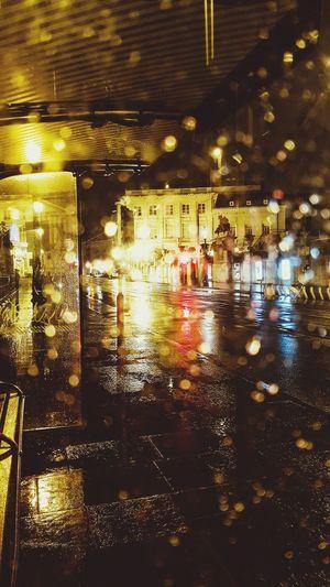 Wet illuminated city at night