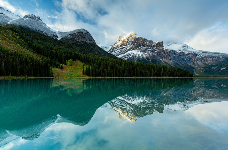 Mountain Reflection Scenics - Nature Beauty In Nature Lake Water Mountain Range Cloud - Sky Tranquility Tranquil Scene Sky Nature Idyllic No People Snow Cold Temperature Non-urban Scene Day Tree Outdoors Snowcapped Mountain Reflection Lake Emerald Lake Canada