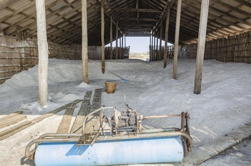 Salt and salt making equipment in the salt warehouse in phetchaburi, thailand