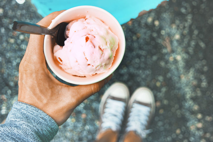 Ice Cream Food Dessert Eat View Point Of View