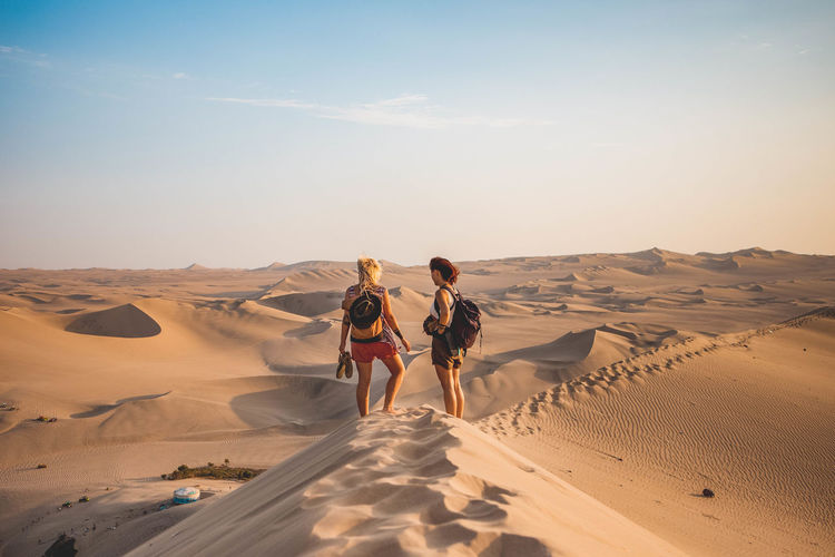 Rear view of friends walking on sand dune