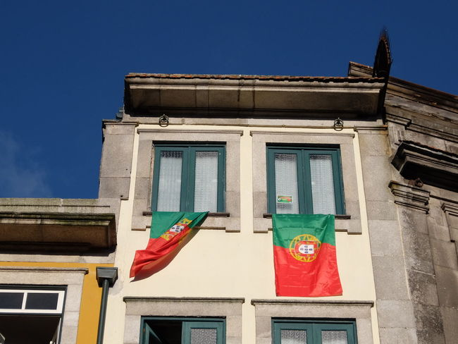 Architecture Euro 2016 Flag Green & Red No People Outdoors Porto Portugal Windows
