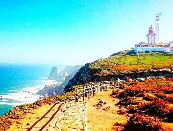Blue Sky Clear Sky Sea Outdoors Day Beauty In Nature Nature Travelgram Traveltheworld Travel Destinations Travel Travelphotography Portugal Naturephotography Naturelovers Nature_collection Nature_perfection Ocean Oceanviews Cliffside Cliff Cabodaroca Cabo Lighthousephotography