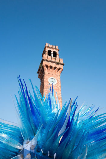 Glass Art Murano Murano Glass The Week On EyeEm Travel Traveling Blue Blue Sky Clock Tower Glass - Material Island Italy Muranoglass Travel Destinations Venice