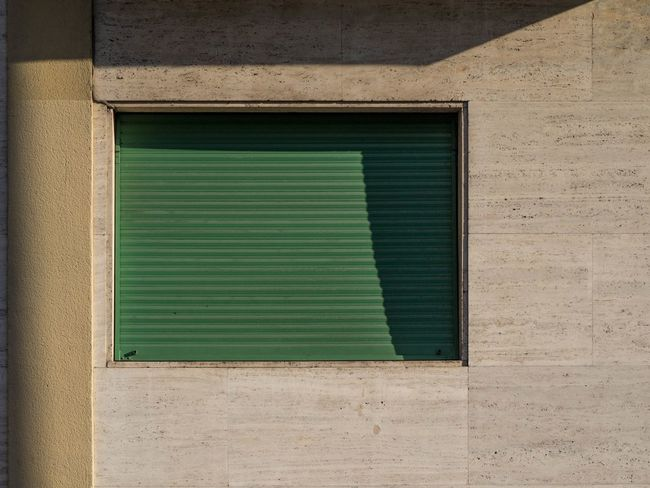 Architecture Building Exterior Built Structure Day Facade Detail Green Color Home Exterior Home Window Marble Wall No People Outdoors Shade Shutter Stone Facade Stone Wall Sunny Home Sunny Wall Wall Window Frame Window Shade Windows Windows Clouse