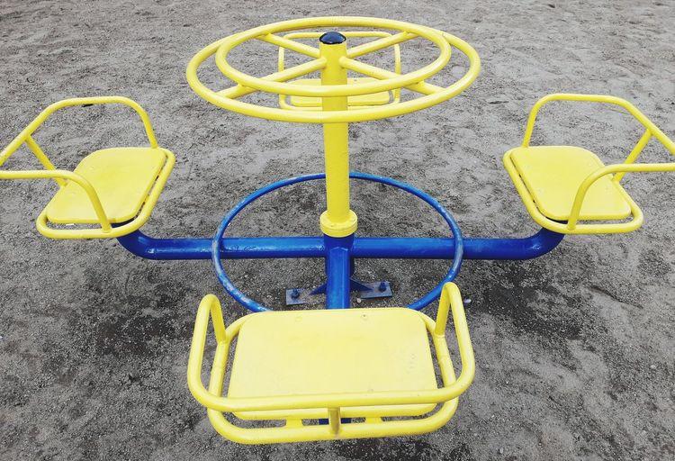 High angle view of yellow playground