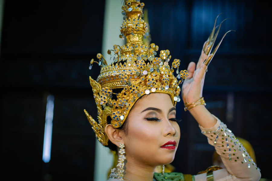 Thailand traditional costume show. Arts Culture And Entertainment Beauty Close-up Day Focus On Foreground Gold Colored Headdress One Person One Young Woman Only Outdoors People Performance Real People Young Adult Young Women