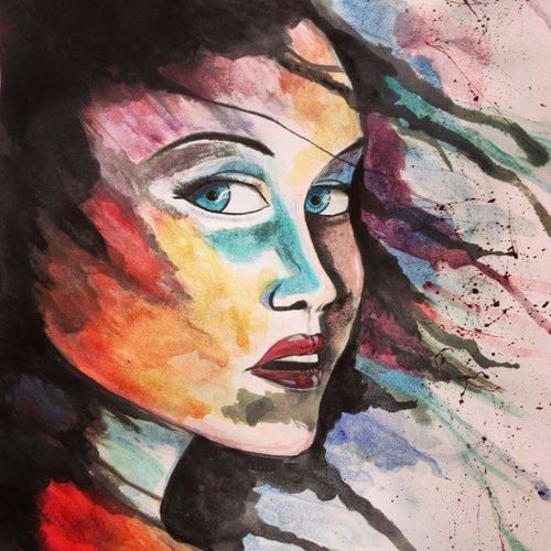 Leisure Activity Multi Colored Human Face Facial Expression Drawing ArtWork Creative Surprised Surreal Colorful Big Eyes Redlips Windy Hair Painted Pictures Acrylic Painting