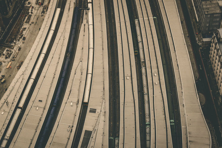Aerial View Of Train Station In London