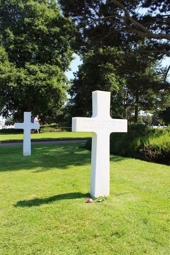 View of cross in cemetery