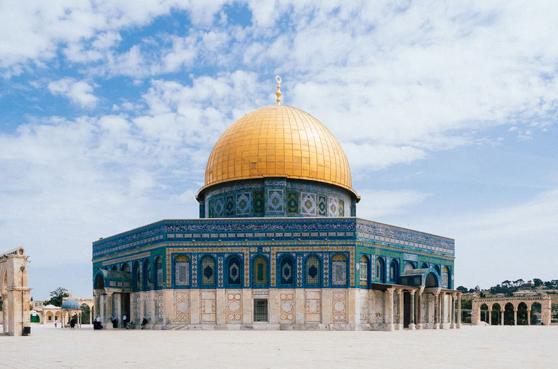 JRS #03 Architecture Blue Building Building Exterior Built Structure Church Cloud - Sky Dome Dome Of The Rock Felsendom Gold Holy Israel Jerusalem Mosque Sightseeing Sky The Architect - 2016 EyeEm Awards Tourism Travel Destinations Traveling