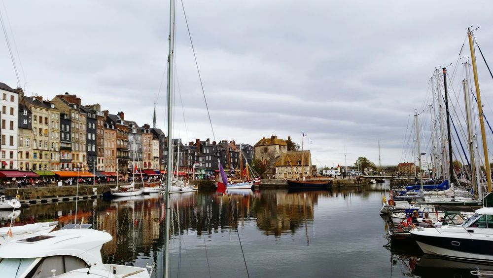 Reflection Business Finance And Industry Cloud - Sky Outdoors Water Nautical Vessel City Residential Building Sky No People Tranquility Building Exterior Cityscape Day Vacations Architecture Landscape Normandie Honfleur Harbour Harbour View