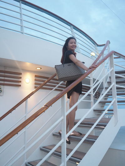 Cruise Royal Caribbean Cruise Luxury One Young Woman Only Steps And Staircases Leisure Activity Portrait Travel Goals Dreams Retirement Model Pose Pretty
