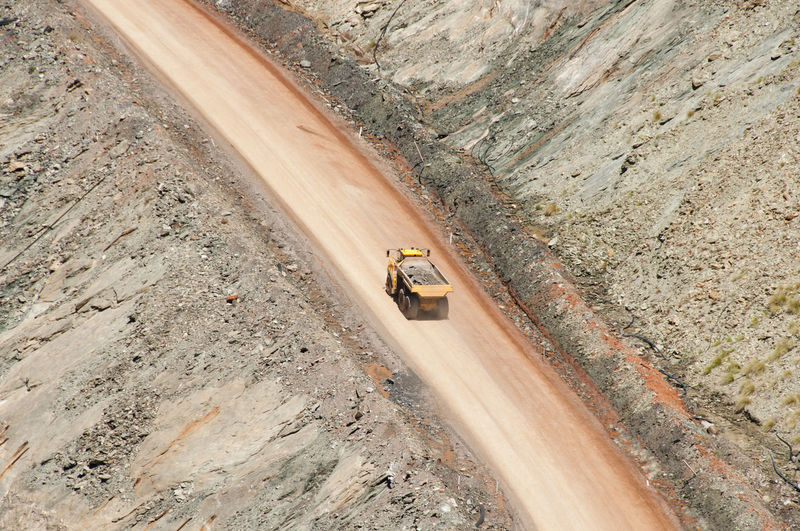 High Angle View Of Truck On Dirt Road