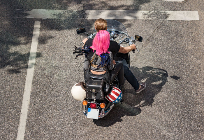 Stockholm Pride parade 2017 Celebration Motorcycle Stockholm Pride 2017 Adult Full Length Girls High Angle View Lgbt Parade Pride Parade 2017 Riding Transportation Two People Love Is Love