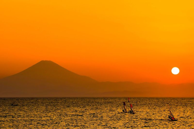 hayama sunset Hayama Sunset Scenics - Nature Sky Beauty In Nature Tranquil Scene Tranquility Mountain Sea First Eyeem Photo