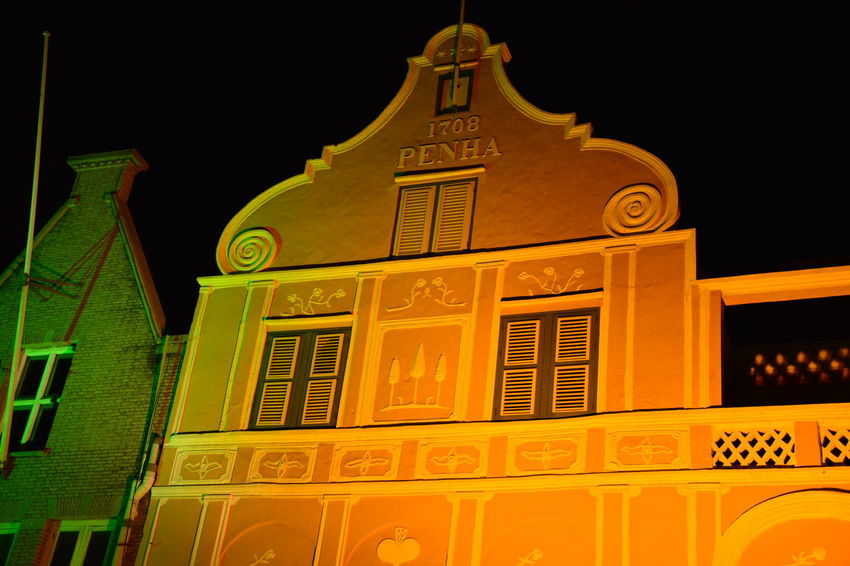 Handelskade, Curacao Caribe Handelskade Punda Architecture Building Exterior Built Structure Curacao Facade Building Illuminated Low Angle View Night No People Outdoors Sky Yellow