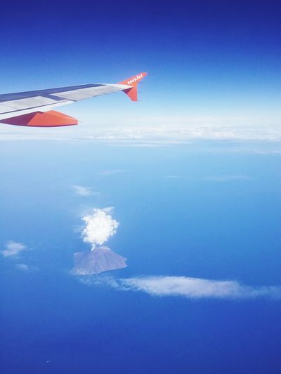 Fly away Hello World Travel Traveling Flying EasyJet Wing Volcano Stromboli Sea Sicily Italy Taking Photos Blue Clouds And Sky Cloud Plume