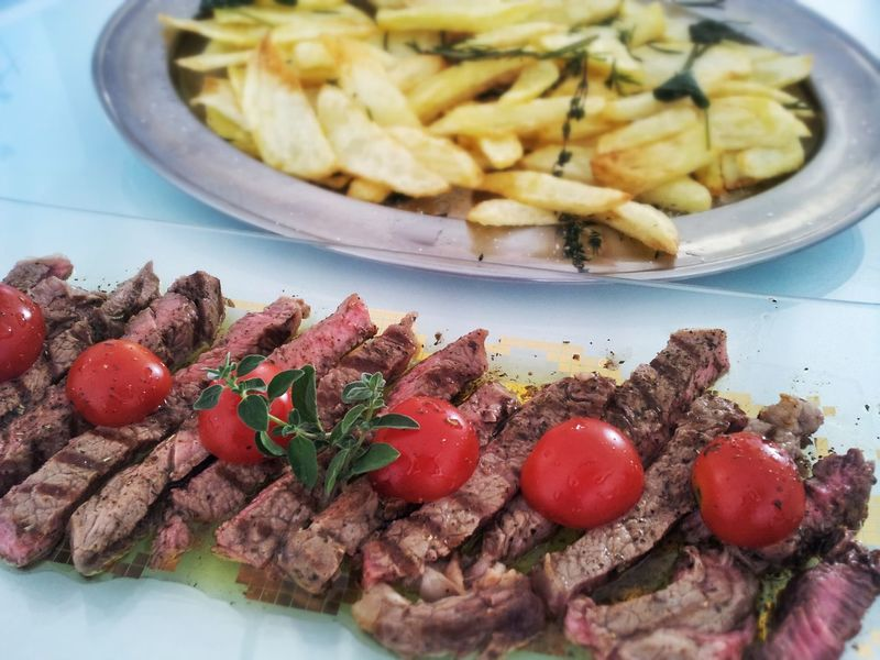 Food Ready-to-eat Chip BAKED POTATOES Meat Tomatoes Salvia Sage Cutted Food Baked No People Freshness Brunch Day Outdoors Dinner Launch Launching Wooden Cutting Board