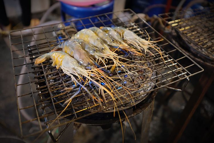 Thailand Street Foods Street Food Prawn EyeEm Selects Seafood Food And Drink No People Close-up Food Fishing Net Outdoors Healthy Eating Freshness Animal Themes