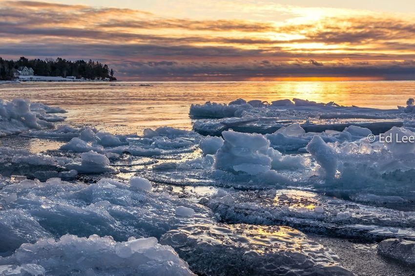 Silver Creek sunrise Lake Superior Sunrise Streamzoofamily Malephotographerofthemonth Sunset Beauty In Nature Cold Temperature Nature Winter Sea Scenics Landscape Frozen Dramatic Sky Sky
