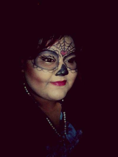Self Portrait Around The World Halloween2014 Diadelosmuertos Dayofthedead HalloweenMakeupArtsy PurpleTippedHair Rosary