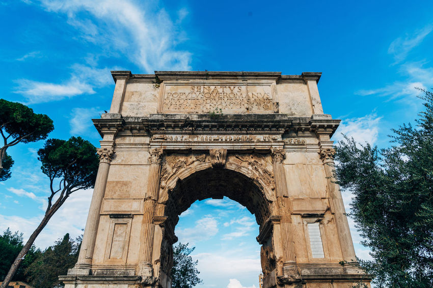 Architecture Day History Low Angle View Outside Roman Triumphal Arch Victory Monument Moving Around Rome