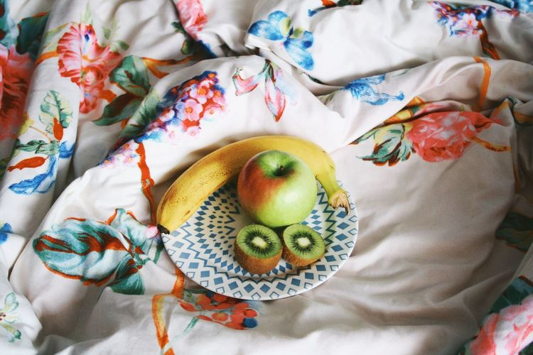 Fresh fruit Snack Time! Morning Fruitporn Fruit High Angle View Textile Bed Indoors  Still Life Furniture No People Food And Drink Choice Floral Pattern Pattern Linen Variation Food Representation Blanket Multi Colored Art And Craft Sheet Creativity