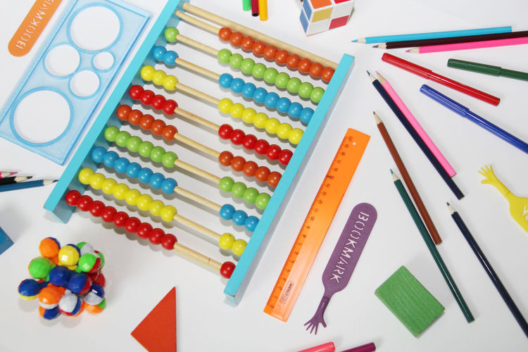 Directly above shot of school supplies over white background